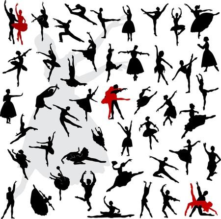 50 Sylwetki baletnice i tancerki w ruchu Ilustracje wektorowe