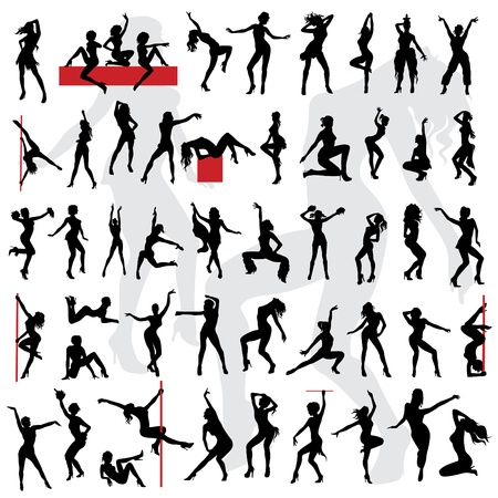 50 Sexy girls silhouette  Go-go girls  Stock Vector - 13629106