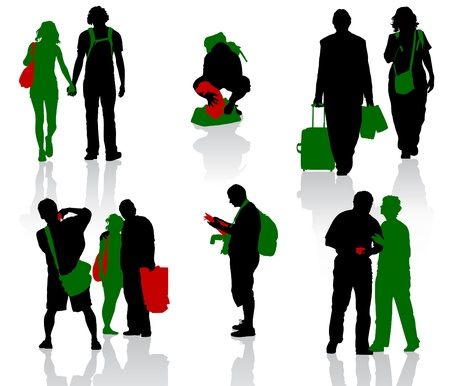 Silhouettes of tourists in different situation  Vector