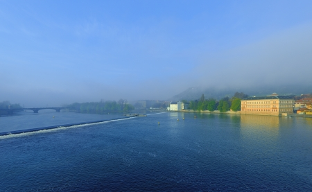 Misty sunrise over the Vltava River  Early in the morning  Spring  photo