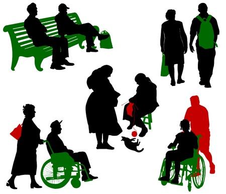 vieil homme assis: Silhouette des personnes �g�es et des personnes handicap�es. Illustration