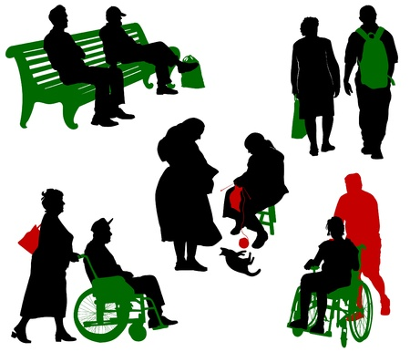 Silhouette of old and disabled people.  Vector