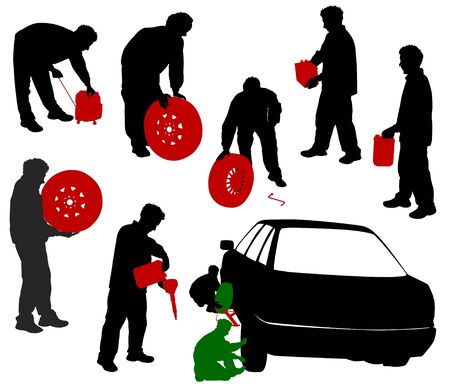 Silhouettes of car mechanics. Change the wheels, a mechanic with the battery canister, a wheel, a gasoline generator. Vector