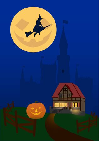 Illustration on a theme halloween.  House on the background of the castle during the celebration of Halloween. Stock Vector - 15658901