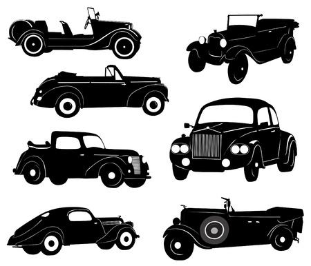 white car: Sagome di auto da collezione d'epoca Vettoriali