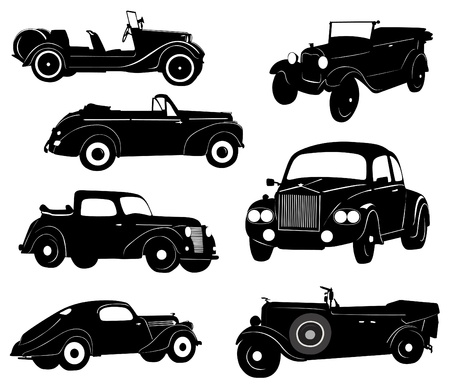 vintage car: Silhouettes of antique collector cars