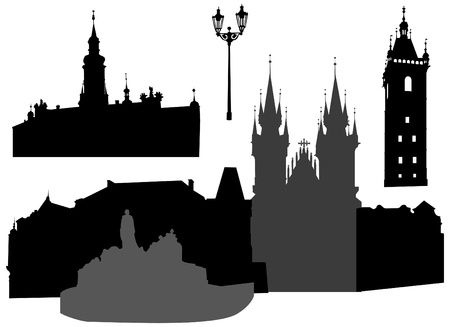 old church: Silhouettes of famous buildings and landmarks of Prague.