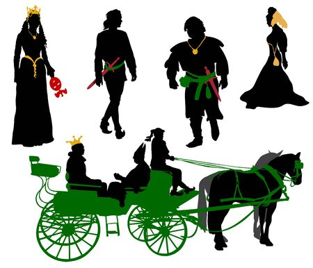 Silhouettes of people in medieval costumes. Queen jester citizen and more.