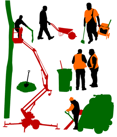 vacuum cleaner worker: Silhouettes of people of different trades Illustration