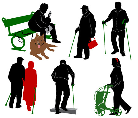 old people: Silhouette of old and disabled people. Illustration