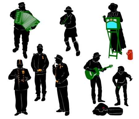 performers: Silhouettes of street performers