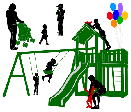 watergun: Silhouettes of children and parents on the playground
