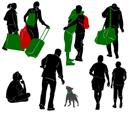 luggage travel: Silhouettes of tourists in different situation. Illustration