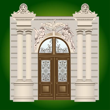 silhouette maison: La porte de l'immeuble avec des ornements forgé