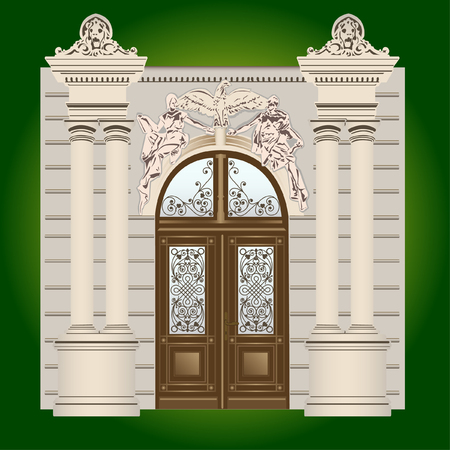 architectural styles: The door of the building with wrought ornaments