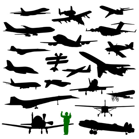 private jet: Collection of twenty silhouettes of various planes Illustration