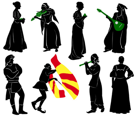 Silhouettes of people in medieval costumes. Musicians, jugglers, a merchant. Vettoriali