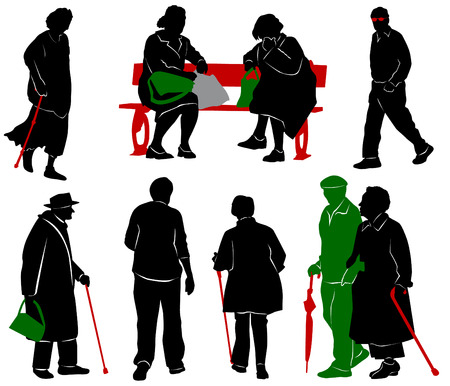 old people: Silhouette of old and disabled people