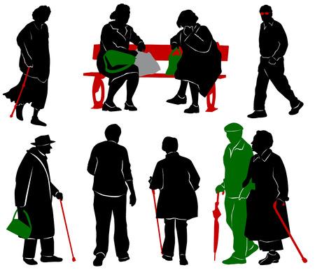 gente sentada: Silueta de las personas mayores y discapacitados
