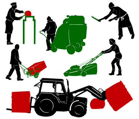 vacuum cleaner worker: Silhouettes of people at work Illustration