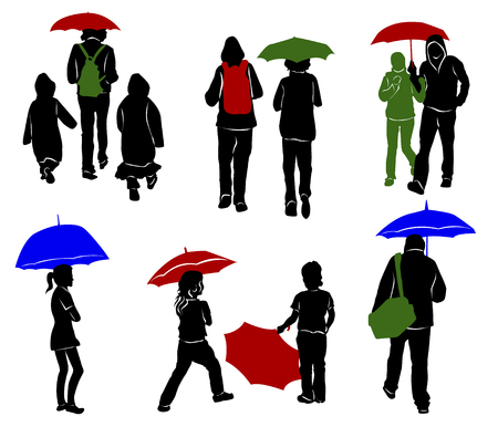 full length woman: Silhouettes of people with umbrellas Illustration