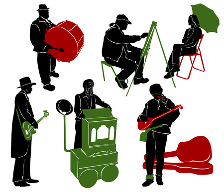 show case: Silhouette of street performers