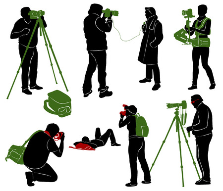 cameraman: Silhouettes of photographers, cameraman and journalist.