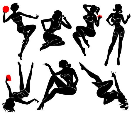 garters: Vector silhouette of pin up girls Vettoriali