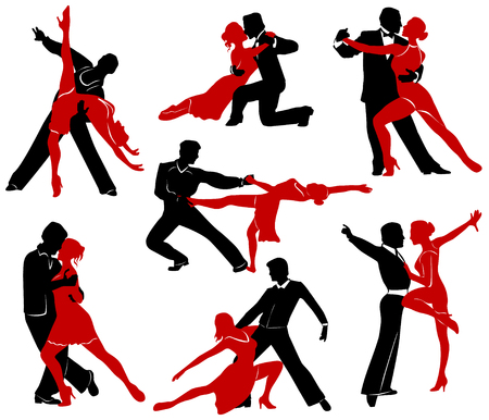 pairs: Silhouettes of the pairs dancing ballroom dances.