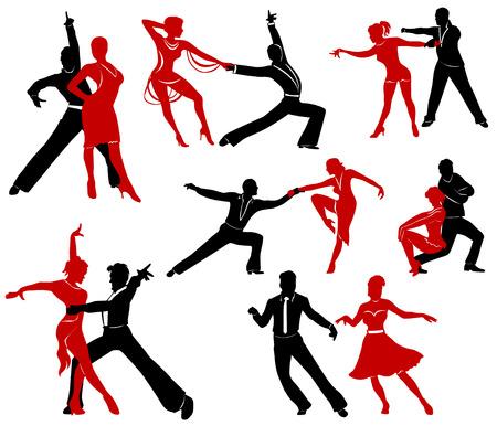 Silhouettes des paires de danse danses de salon.