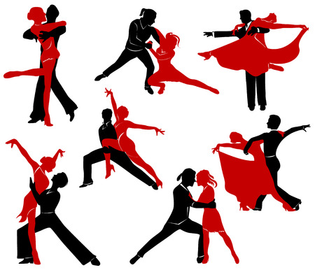 waltzing: Silhouettes of the pairs dancing ballroom dances.