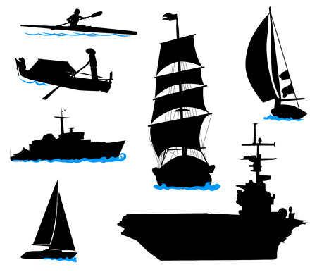 aircraft carrier: Silhouettes of offshore ships - yacht, fishing boat, the warship.