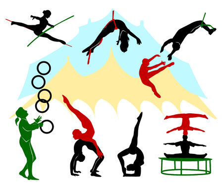 performers: Silhouettes of circus performers