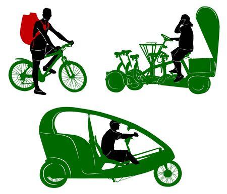 Silhouettes of tourist transportation and traveler Illustration