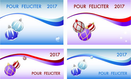 pour feliciter: Set of four congratulation card to Christmas and New year