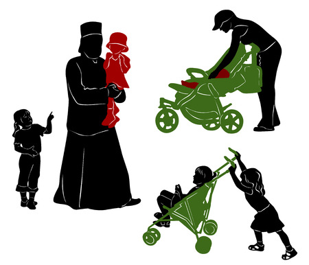 The isolated silhouettes of parents and children.
