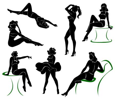 reggicalze: Vector silhouette di pin up girls