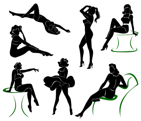 reggicalze: Vector silhouette of pin up girls Vettoriali