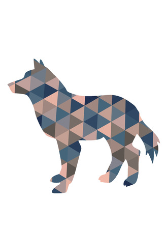 animals in the wild: Silhouette of wolf in triangles. Stock Photo