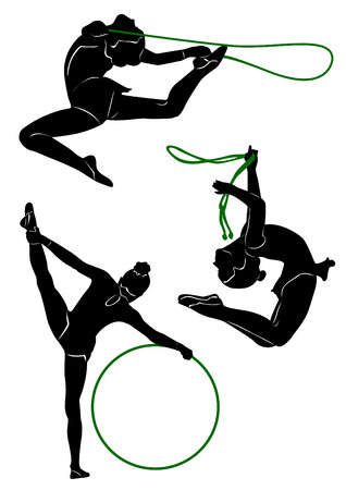 svg: Silhouettes of gymnasts with various sports subjects. A ball, a skipping rope, a hoop