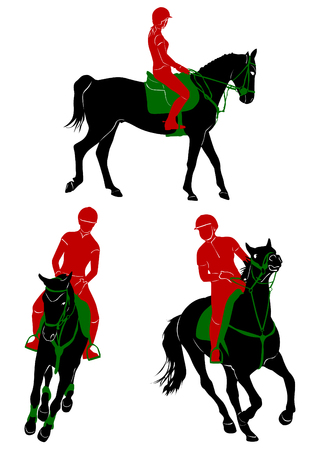 Silhouettes of riding during competitions