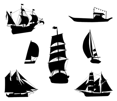 Silhouettes of historic sailing ships