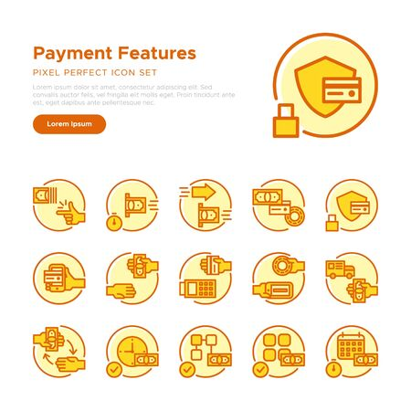 Rounded Payment Features Icon Set, Graphical User Interface, Feature List Graphic UX UI, Pixel Perfect Icon Çizim