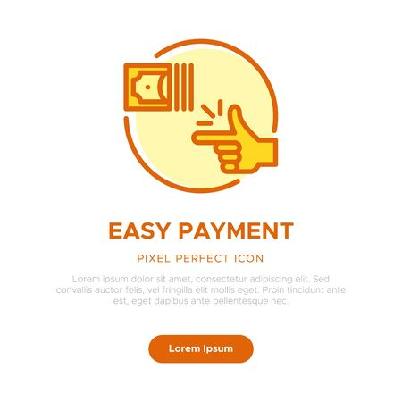 Concept of Easy Payment Icon, Graphic User Interface, Onboarding App, Web Feature List Graphic