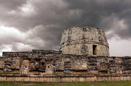 The maya observatory Mayapan Stock Photo
