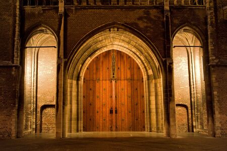 delft: Front entrance of the New church in Delft, the Netherlands. Stock Photo