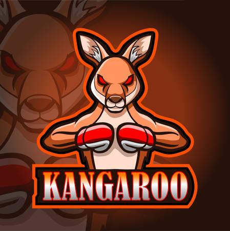 Kangaroo esport logo mascot design 矢量图像