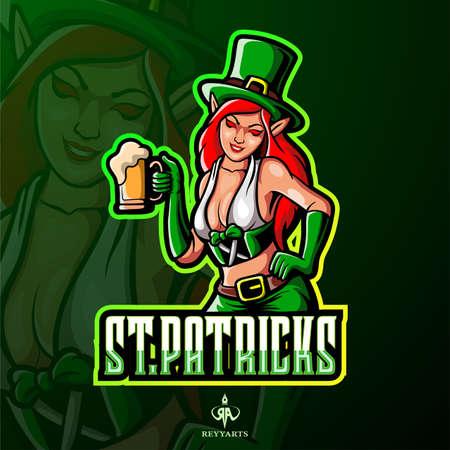 Female leprechaun esport mascot logo design