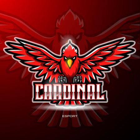 Cardinal bird esport logo mascot design Logo