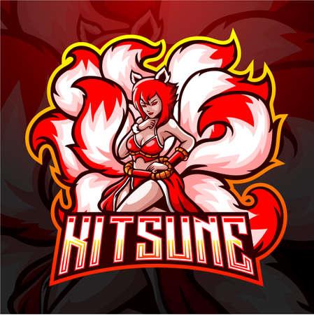 Kitsune female nine tails esport logo design.